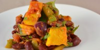 Chili beans with roasted pumpkin
